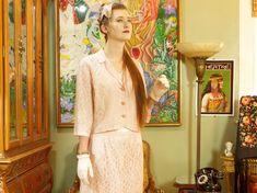 Vintage 60's Pink Lace Suit . Boxy Short Jacket . Midi Pencil Skirt . Jackie O…