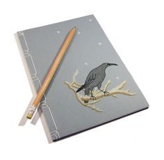 Embroidered Notebook / Crow in the Snow , via Etsy.