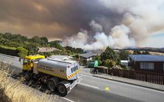 A Selwyn District Rural Fire Authority truck in front of smoke from the Port Hills blaze just. Thermal Imaging, Holiday Places, Leicester, New Zealand, Scotland, Battle, Fire, Train, World