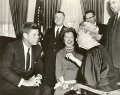 Helen Keller with President Kennedy.