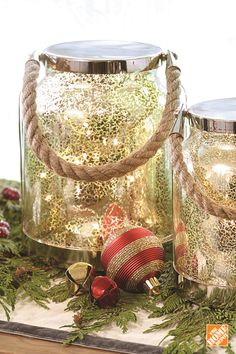 The elegant Mercury Glass Lantern with Twinkle Lights will light up your home for the holidays. The mercury finish adds to the warm glow of the lights and the rope handle adds a pleasant touch of rustic charm.