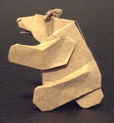 Origami Bear - sitting by Cesar Gonzales folded by Gilad Aharoni
