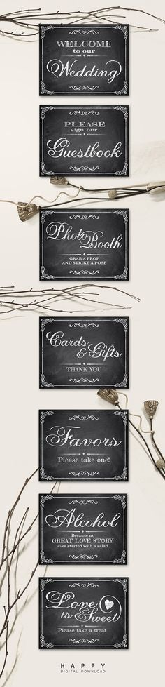 Printable Chalkboard Wedding Signs. Chalkboard Signs. Welcome, Guestbook, Photo Booth, Favors, Cards and Gifts, Chalkboard Signs!