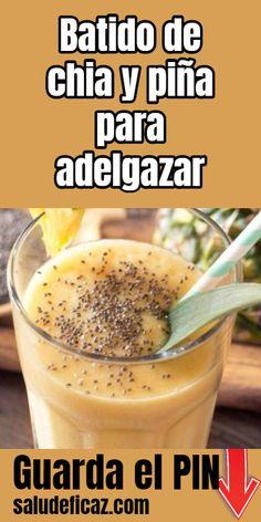 Frullato di chia e ananas per dimagrire - Licuados - Healthy Detox, Healthy Juices, Healthy Smoothies, Healthy Drinks, Healthy Shakes, Detox Cleanse Drink, Body Cleanse, Natural Detox Drinks, Homemade Detox