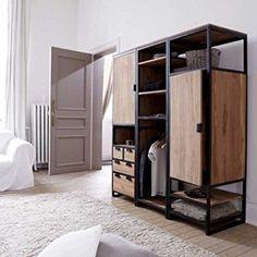 Solid Teak and Metal Wardrobe Unit 3 Shelf 1 Cupboard Industrial Style Bedroom