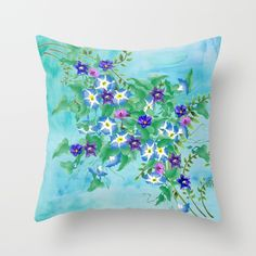 Watercolor Spring Bouquet  Throw Pillow