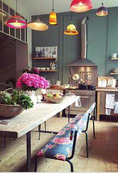 Best Bohemian Kitchen Design Idea Home Decor Ideas Decorations DIY Home Make Over Furniture Dining Area, Kitchen Dining, Kitchen Decor, Kitchen Ideas, Kitchen Banquette, Kitchen Planning, Kitchen Rustic, Dining Tables, Design Kitchen
