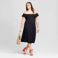 Women's Plus Size Rib Bardot Dress - Who What Wear Black 3X