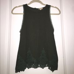 Lily White High Neck Tank Top Hunter green high neck tank top with lace detail. Worn once. Lily White Tops