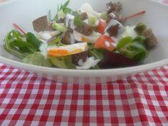 Czary w kuchni- prosto, smacznie, spektakularnie.: Lekka sałatka z białym mięsem kraba polana sosem c... Seafood, Beef, Sea Food, Meat, Steak, Seafood Dishes