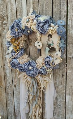 Shabby Chic French Cottage Chic Wreath French Blue Rose | Etsy Pearl Necklace Vintage, Vintage Pearls, French Cottage, Cottage Chic, Wedding Wreaths, Wedding Decorations, Shabby Chic Wreath, World Decor, Year Round Wreath