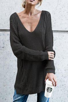 "Lbduk Euramerican V Neck Hollow-out Black  Acrylic Sweaters ""#womensfashion #genuine #vintage #chic #streetstyle #stylish #outfit #fashionista #modern #designers #instafashion #ootd #lookbook #beachwear #junior #summerstyle #brands #freeshipping"""