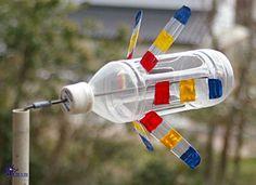 Plastic bottle windmills