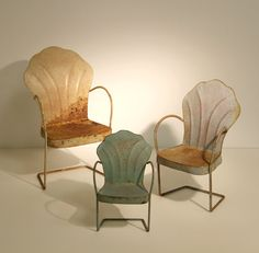 Set of Three Miniature Vintage Metal Lawn Chairs by Haverton