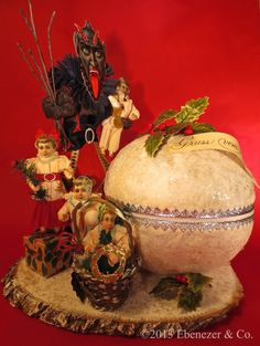 Large Spun Cotton Krampus Christmas Candy Container with Children