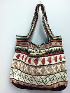 """personal pattern """"MudMoods"""" by eCrochet, bag made with nylon thread...http://www.ravelry.com/projects/annicej/mud-moods"""