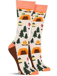 Fun novelty Happy Camper socks for women in white