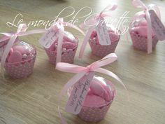 dragée cupcake rose à petit pois