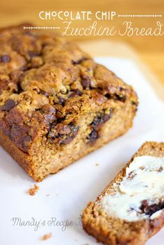 Chocolate Chip Zucchini Bread-going to try this one, only cut it in half.