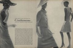 """""""A seeming absence of colour, a seeming innocence of line: Galanos's look for a woman this summer is unequivocal in its purity. Clean, cool, easy along the body. Simplicity itself. But achieved only through a fantastic mastery of cloth."""""""