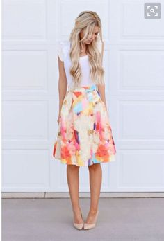 Stitch fix spring summer 2016 fashion // love this  Floral watercolor skirt nude pumps waves hair: