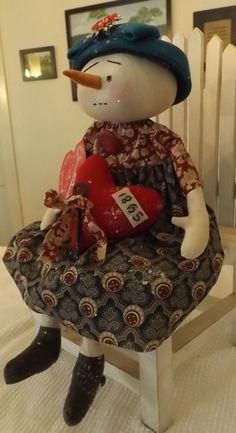 Primitive Snowman Valentine Doll Vintage style Hat Old Lace Civil War Era Print #NaivePrimitive #handcraftedbyartist