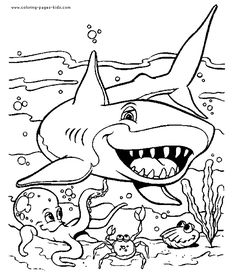 colorering sheets for kids | ... coloring pages and sheets can be found in the Sharks color page