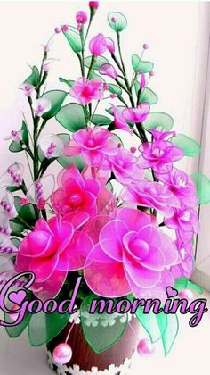 Nylon Flowers, Diy Flowers, Pretty Flowers, Fabric Flowers, Flower Pots, Paper Flowers, Good Morning Beautiful Pictures, Good Morning Picture, Good Morning Flowers