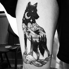 Wolf tattoo by Cutty Bage.   Blackwork animal tattoos are classy & mysterious. They stand out due to their bold lines and complex patterns and they impose respect and admiration. Enjoy!