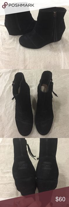 """TOMS black suede wedge booties! TOMS suede black wedge booties. These have a tassel pull zipper on the side. Very comfy and gorgeous. Rarely worn. 3"""" heels with 1/2"""" support in the front. Great for winter and on point with current styles. Excellent shape. No flaws or discoloring. TOMS Shoes Ankle Boots & Booties"""