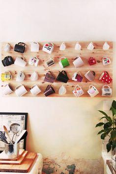 A fun idea for storing coffee mugs.