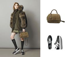 #HOGAN H283 Maxi Platform sneakers and Shoulder bag in soft suede from the Fall Winter 2015/16 Women's Collection.