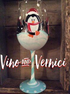 Hand painted wine glass, penguin winter wine glass, Vino & Vernici