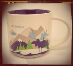 "Beautiful Starbucks Alaska mug new edition from ""You are here"" mug collection. Brand new in box, in white ceramic with colorful alaskan scape prints on it, 14 fl.oz capacity. Very collectible!"