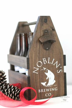Wooden Beer Caddy with Opener  HD-47 by SweetNCCollective on Etsy