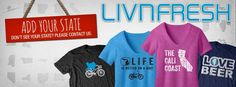 Get unique high quality apparel for your state here... www.livnfresh.com