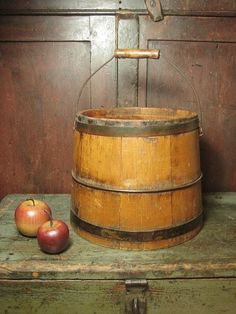 Early Old Antique Wooden Sugar Bucket