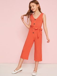To find out about the Girls Button Front Belted Crop Jumpsuit at SHEIN, part of our latest Girls Jumpsuits ready to shop online today! Preteen Girls Fashion, Kids Fashion, Fashion Outfits, Kids Outfits, Summer Outfits, Cute Young Girl, Jumpsuits For Girls, Orange Pattern, Types Of Sleeves