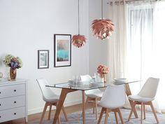 Kattovalaisin - Kupari - Riippuvalaisin - Valaistus - ANDELLE_616619 Beliani, Copper Ceiling Lamp, Table, Furniture, Copper Ceiling, Copper Pendant Lamp, Contemporary Design, Dining Table, Energy Efficient Bulbs
