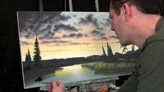 Sunset painting in progress, painting lessons available at http://www.ti...