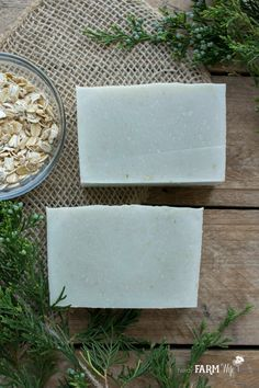 Cedarwood and Oatmeal Soap Recipe - This simple natural soap features oatmeal, for visual texture and to soften skin as it gently exfoliates; French green clay, for a natural green color and mild cleansing properties; along with cedarwood Atlas essential oil for a clean woodsy scent.