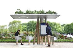 French designer Mathieu Lehanneur has created a series of Wi-Fi stations in Paris where people can sit down to use their laptops or access local information via a large screen. If the design would be improved it could serve as the bus stop Café Design, Beton Design, Urban Design, Paris Design, Green Architecture, Landscape Architecture, Architecture Design, Architecture Diagrams, Architecture Portfolio