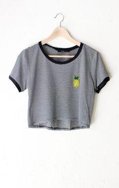 Pineapple Striped Crop Ringer Tee