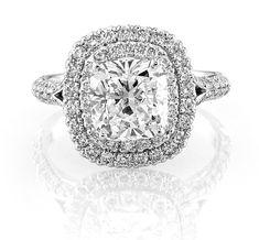 Optic Set Double Halo Cushion Cut Engagement Ring
