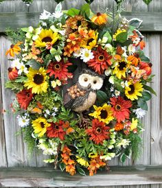 Summer Owl Wreath Sunflowers Daisies Dogwood by IrishGirlsWreaths, $135.  Could make yourself