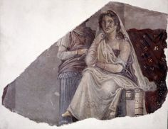 Fragment of wall painting from Pompeii. It shows Phaedra with an attendant, probably her nurse.