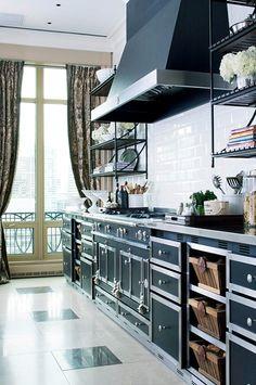 Black and silver trim La Cornue range