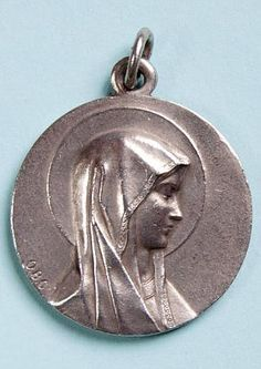 Our Lady of Lourdes. Silvered metal signed O. Souvenir from Lourdes, in style Catholic Medals, Our Lady Of Lourdes, Bronze Sculpture, Virgin Mary, French Vintage, Saints, History, Metal, Style