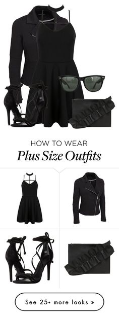 """""""Untitled #56"""" by katty-kat-537 on Polyvore featuring WithChic, Schutz, MSGM, Ray-Ban, rockerchic, rockerstyle and plus size clothing"""