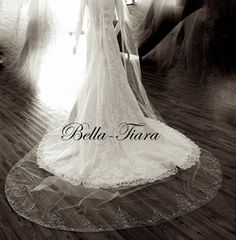 cathedral wedding veil ivory crystal wedding veil by BellaTiaraLLC Ivory Veil, Cathedral Wedding Veils, Blusher, Crystal Wedding, Bridal Hair, Swarovski Crystals, Collection, Free, Etsy